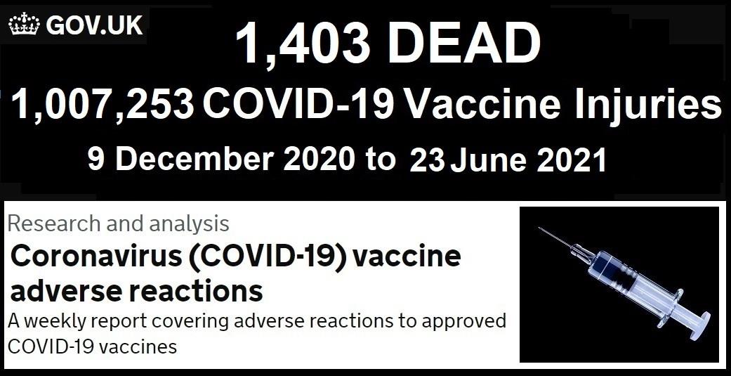 UK Vax Death & Injury Stats 12/09/20 thru 6/23/21 UK-COVID-Vaccine-Adverse-Reactions-Report-7.1.21