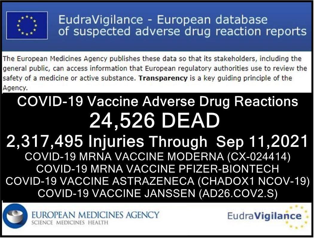 EUDRA Adverse Reaction Stats Through September 11th, 2021 11092021-adrre-eu-injuries
