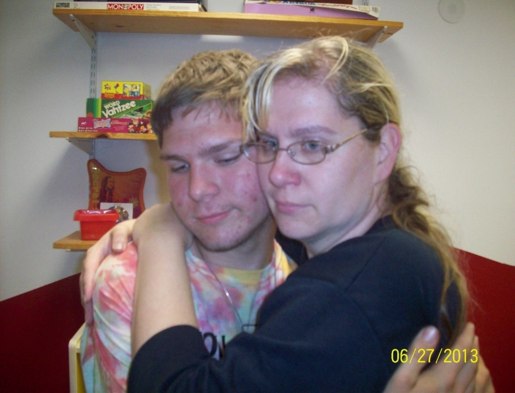 Kathy B hugs son goodbye at final visit