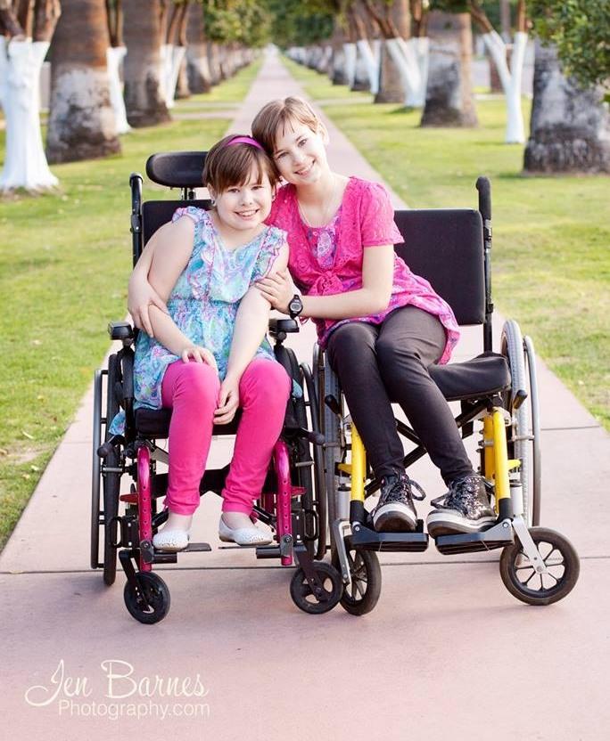 Diegel sisters in wheelchair