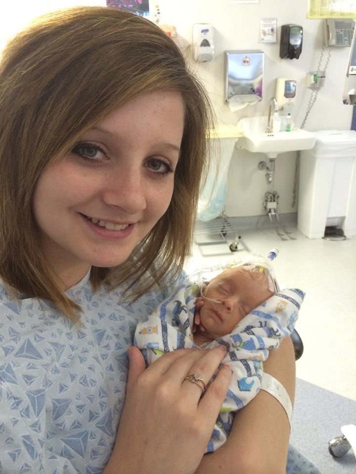 Keshia with Brayden in hospital