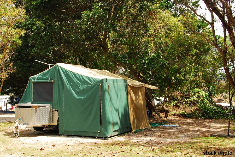 Tent in a camping site at a park on the beach in Australia