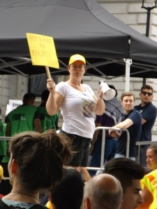 Stephanie protesting - Stop Stealing Our Children Now