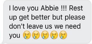 Abbie text love you from friend