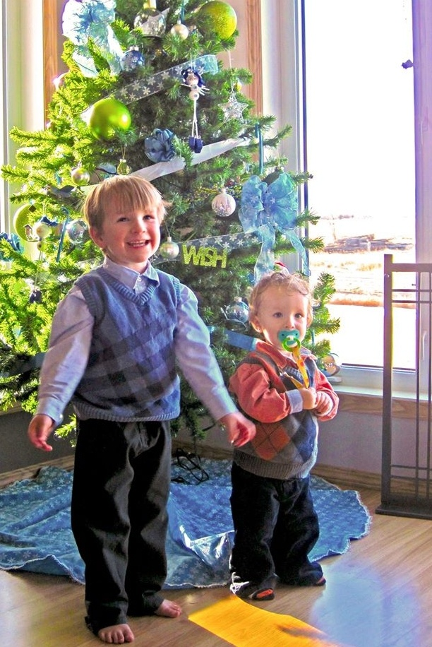 David Stephan brothers with Christmas tree