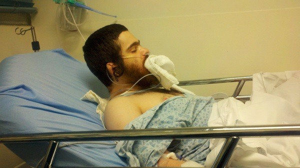 Nate Tseglin in a hospital bed on Oct. 2, 2012.Photo courtesy of the Tseglin family.