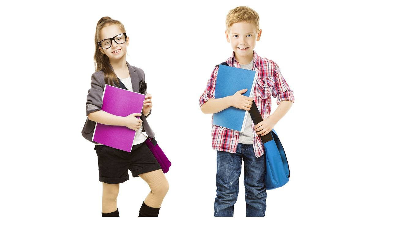 School Kids Group Children in Uniform, Little Girl Boy with Student Folder seven years old, isolated on White background
