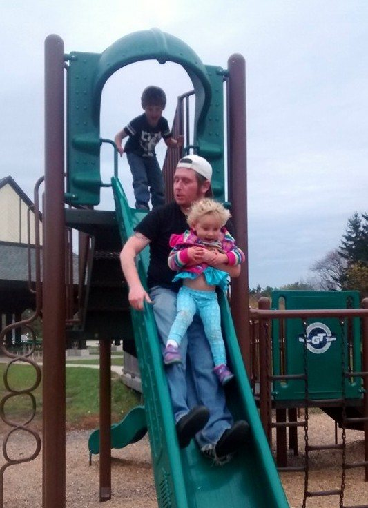 10.21.15, Last visitwith children. Jeremy and Lexi going down big slide, with Ashton following. Image from Facebook.