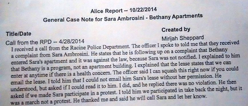 4.24.14 Sara reports illegal entry of Bethany staff to police