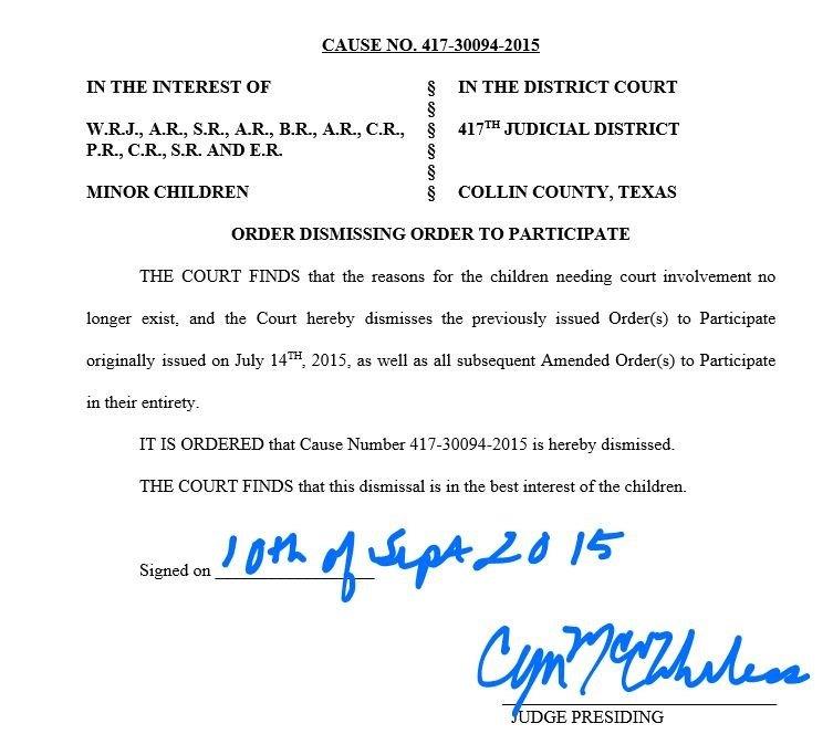 Judge Wheless Order to Dismiss