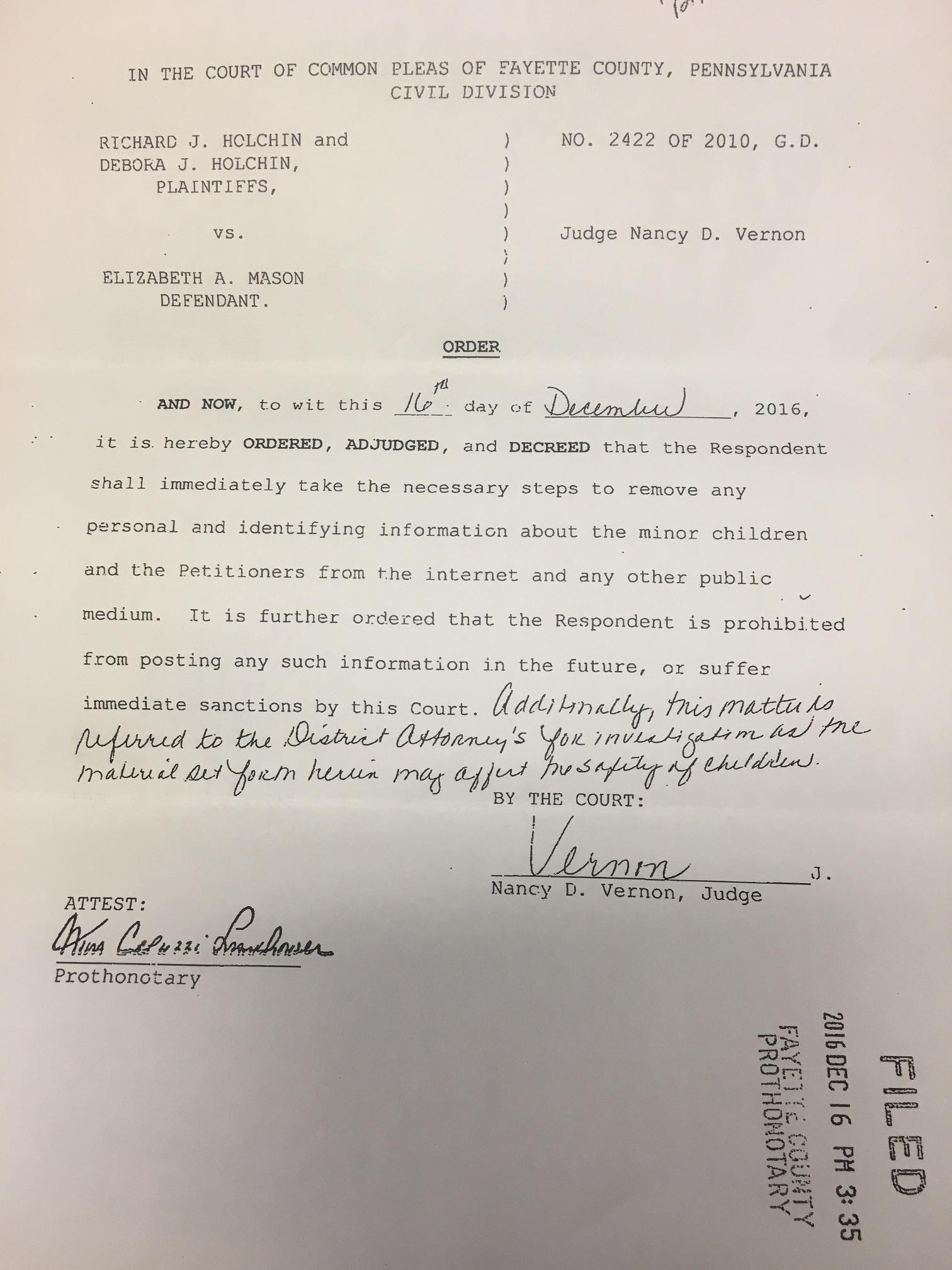 Judge Vernon Court Order Pennsyvania