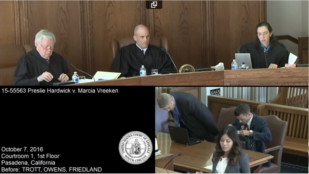 9th circuit Preslie Hardwick v. Marcia Vreeken