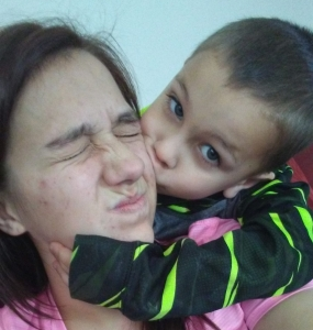 Shanley son kisses his mommy