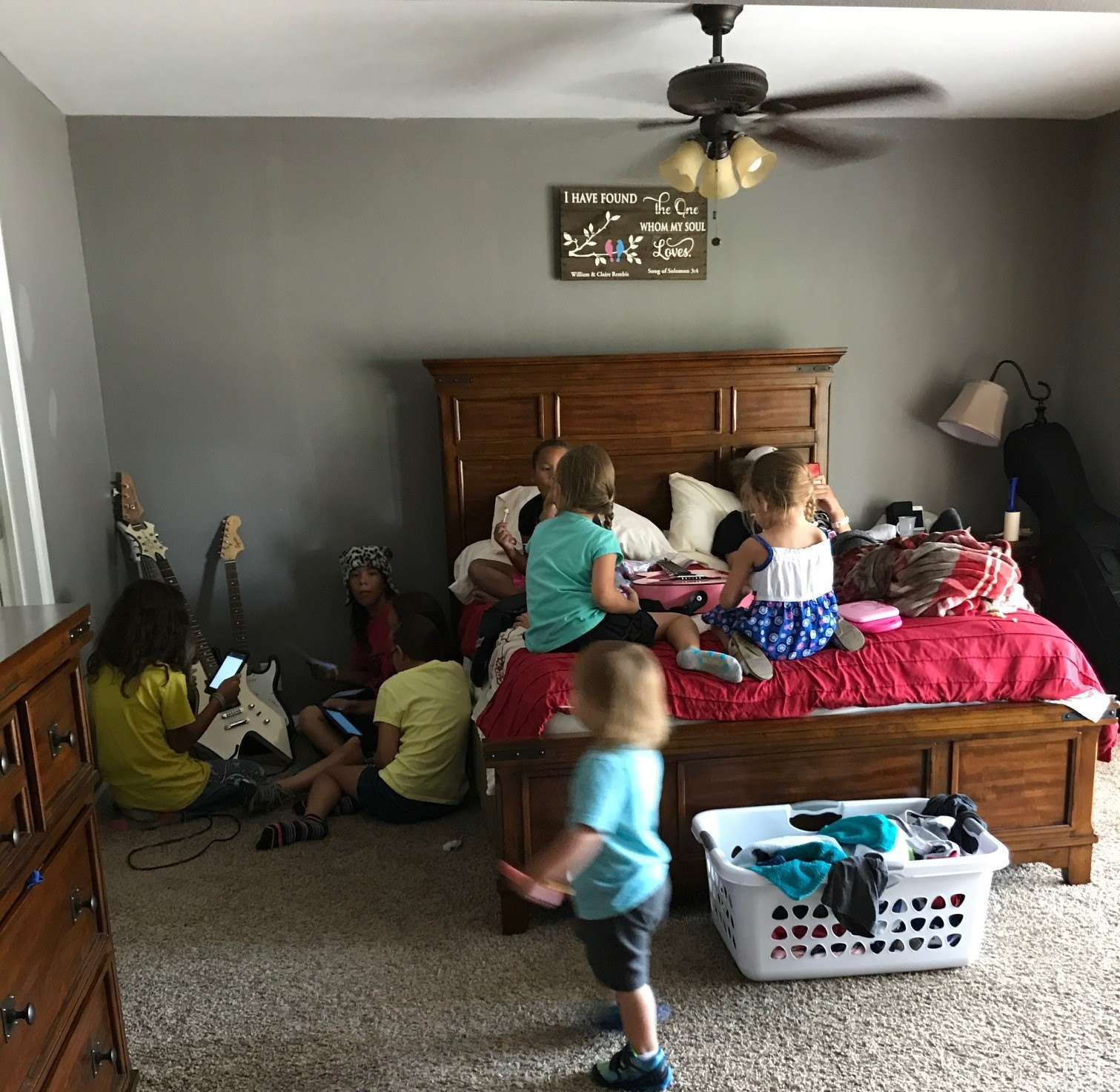 Children Home Gathered in Parent's Room, Just Like Old Times.