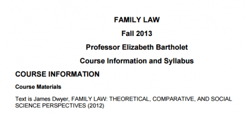 Family Law Syllabus Bartholet Dwyer