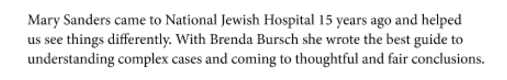 Brenda Bursch accolades from Medical Child Abuse book