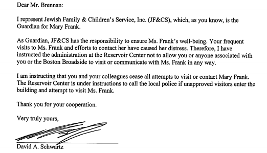 letter to Boston Broadside editor re Mary Frank