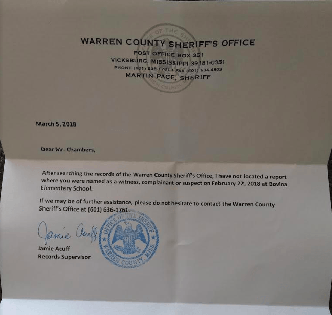 warren county sheriff letter