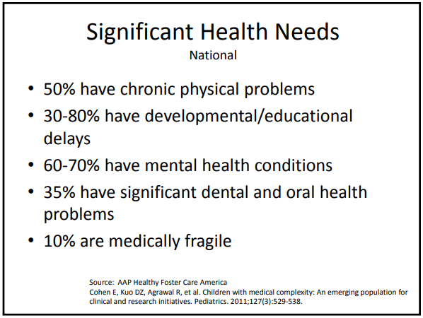Bullet points - significant health needs of foster children