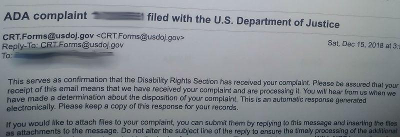 Egypt ADA complaint email