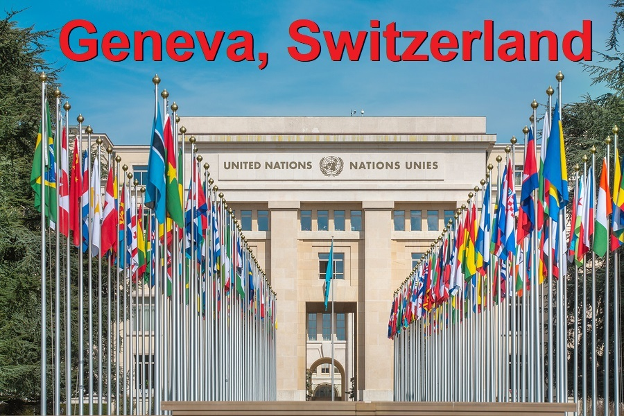 Switzerland; Geneva; March 23, 2017; The rows of the United Nations member states flags in front of the United Nations Office in Geneva.