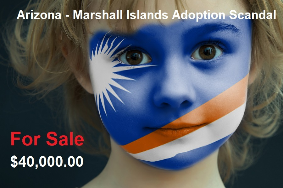 Portrait of a child with a painted flag of Marshall Islands on her face, closeup.